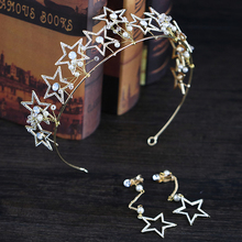 Gold Color Pentagram Crown 2pcs/Set Jewelry Rhinestone Stars Crown Tiaras For Bride Princess Wedding Hair Jewelry