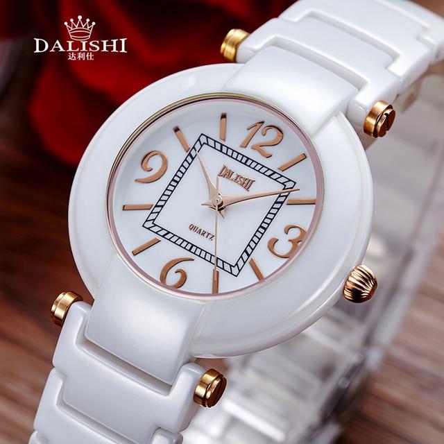 7711827fa26 DALISHI Mulheres Marca Relógios de Luxo Branco Preto de Cerâmica Relógio de  Quartzo Moda Senhoras de Marcação Digitais Simples Relógio Relogio ...