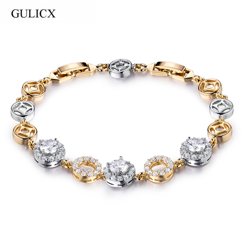 GULICX Brilliant Round Cubic Zircon Simulated Crystal Chain Bracelet Bangle With Rose Gold-color CZ Jewelry For Girl