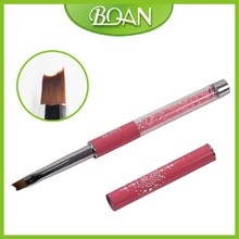 2016 Hotsale BQAN 6# Special Nylon Moon Hair Tip Angled Crystal Gel Nail Art Brush for Smile Gel Nails1 PC Free Shipping