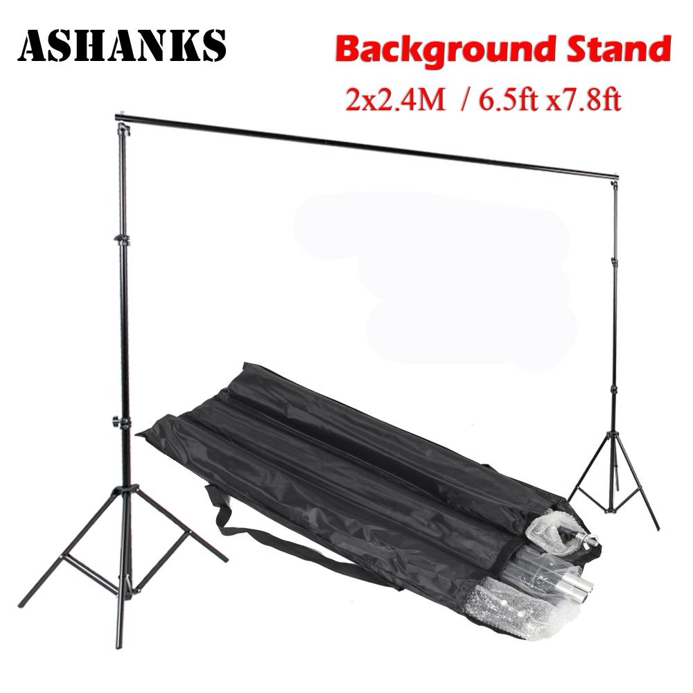 Prix pour Haute qualité 2 M X 2.4 M Pro Photographie Photo Backdrops Fond Support Système Stands Pour studio + sac de transport