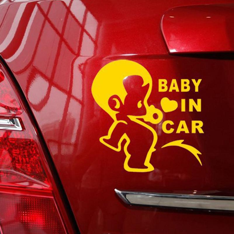 Car Stickers Baby Pissing On Board In The Car Car Decal Vinyl Sticker For Window Bumper Panel Waterproof decal 2017 Accessories alice in wonderland wall decal quote cheshire sayings we re all mad here vinyl decal for macbooks laptops car windows etc