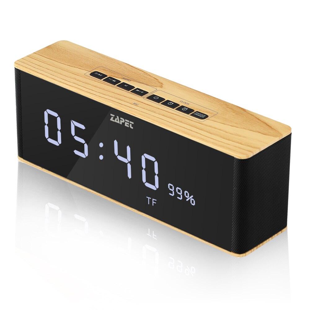 ZAPET Lautsprecher Tragbare Bluetooth Lautsprecher Wireless Stereo Musik Soundbox mit LED Zeit Display Uhr Alarm Lautsprecher