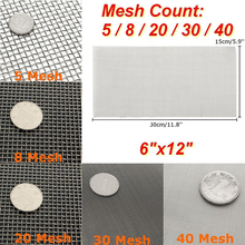 5/8/20/30/40 Mesh Stainless Steel Woven Cloth Screen Wire Filter Sheet 6x12