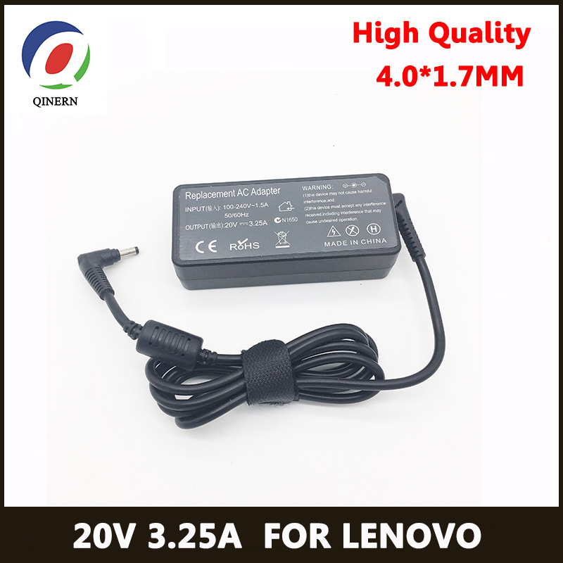 QINERN EU 20V 3.25A 65W 4.0*1.7mm AC Laptop Charger For Lenovo IdeaPad100-15 B50-10 YOGA 510-14 Notebook Charger Power Adapter