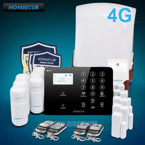 HOMSECUR Wireless&wired 4G/GSM LCD Home House Alarm System with Red Flash Siren dhl ems free shipping 2 4g wifi gsm gprs sms wireless home house security intruder alarm system wireless flash siren