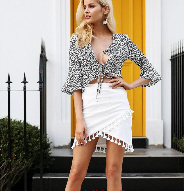 Tassel White Black Women Skirt High Waist Elastic Pencil Black Mini Skirt Streetwear  Short Beach Summer Skirt Female