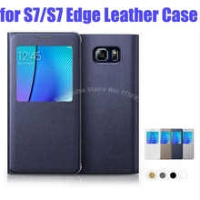 For Samsung GalaxyS7 G9300 S6 View Window Flip Cover Leather