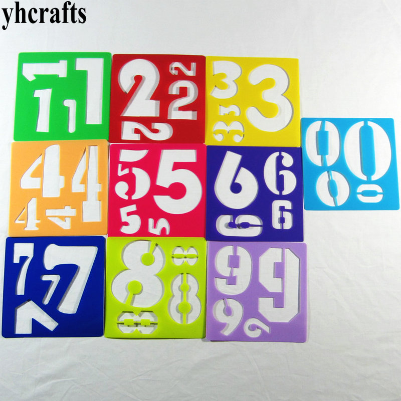 20PCS/LOT. 0-9 numbers stencil Art template Teach your own Early educational toys Birthday gifts Christmas gifts Creative DIY