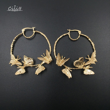 Ciliy New Hoop Earrings Alloy Butterfly Female Fashion Round Circles Women Jewelry Pendant Luxurious F4118TA