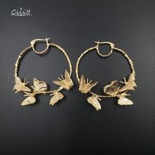 Ciliy New Hoop Earrings Alloy Butterfly Earrings Female Fashion Earrings Round Circles Women Jewelry Pendant Luxurious F4118TA alloy hollowed butterfly earrings