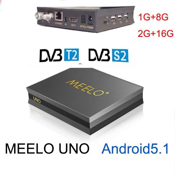 5 unids Meelo uno o meelo UNO2 1G/8G o 2G/16G Android 5.1.1 TV caja de DVB-T2 +