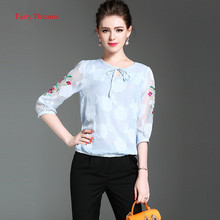 Fairy Dreams Womens Shirt Blue Blusas 2017 New Style Summer Flowers Embroidery Sleeve Top Fashion Blouses Office Ladies Clothing