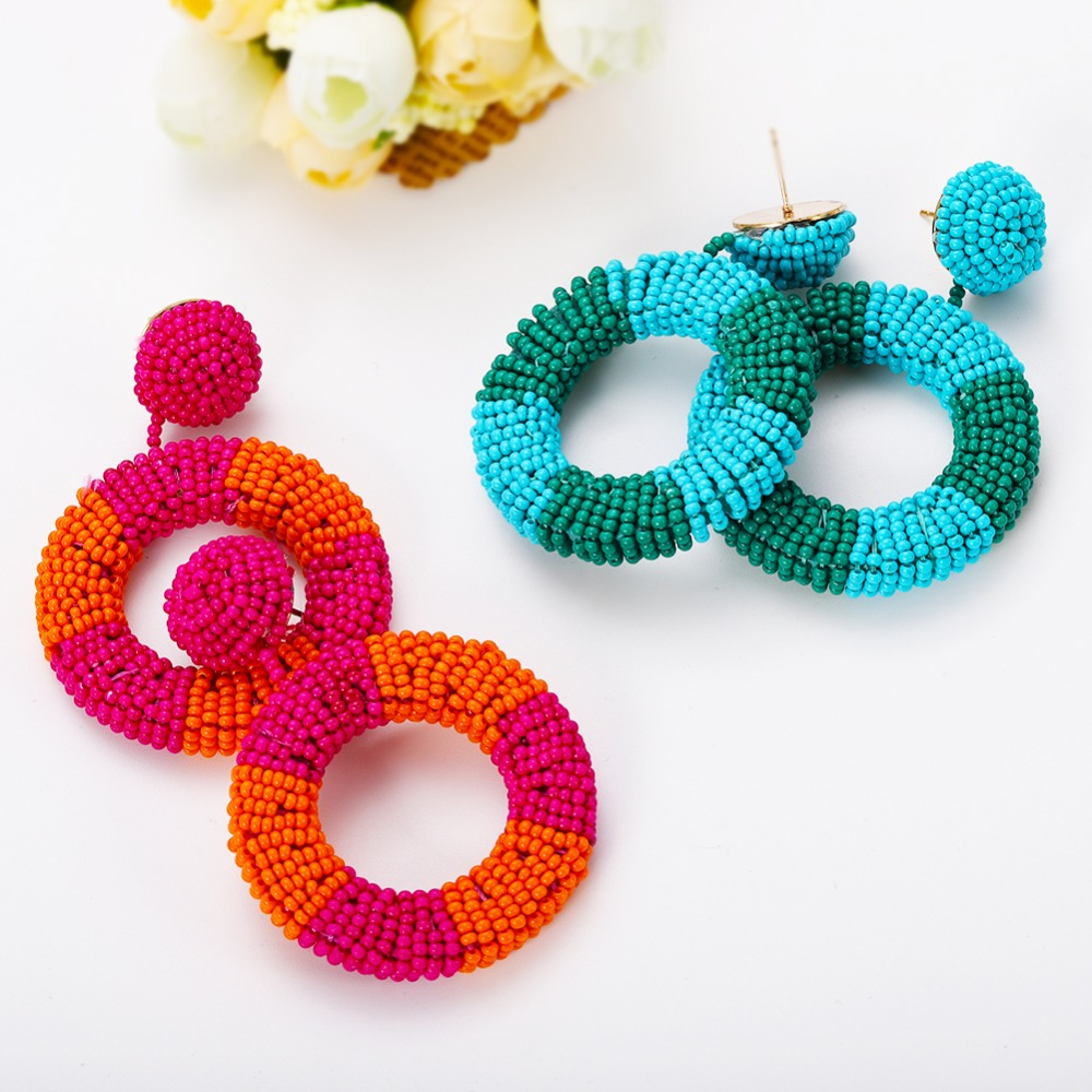 Dvacaman Drop-Earrings Beaded Korean Jewelry Colorful Women Circle Gifts Round Girl Big