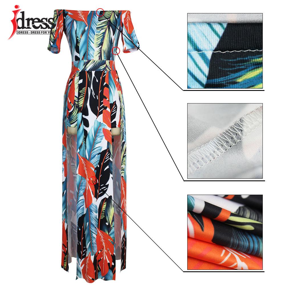 IDress Fashion 2017 Hot Sale Plus Size Casual Slash Neck Pattern Feather Slit Women Maxi Dresses Off the Shoulder Long Dress Vestidos (1)