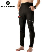 ROCKBROS Autumn Winter Cycling Pants Windproof Keep Warm Thermal Sports Trousers Men Mtb Elastic Waist Bike Bicycle Pants Black
