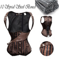 10 Sprial Steel Boned Waist Trainer Corset Pirate Burlesque Costumes Corsets And Bustiers Top Underbust Steampunk Corset TYQ