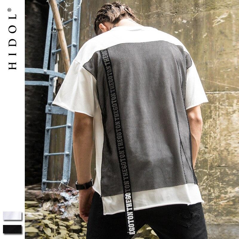 T-shirt Longline Kanye Gothic T shirt Mesh Ribbon White/Black Brand Clothing Hip Hop Man Tshirt Men Short Tee Streetwear Cotton