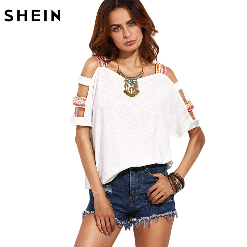 SheIn T Shirt Women 2016 Clothing Summer Casual T Shirt Tops Ladies Beige Square Neck Cut