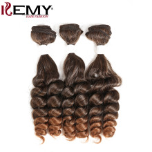 Funmi Curly Synthetic Hair Weaves Bundles KEMY HAIR Ombre Black Brown Color Hair Weaving Extensions 3 Pieces/lot Free Shipping(China)