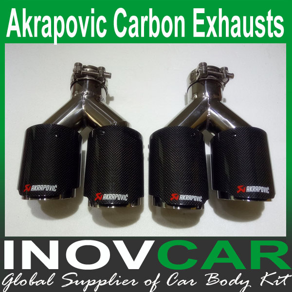 One Pair 2pcs Y Model Car Akrapovic Exhausts Dual End Tips Universal Glossy Carbon Fiber Dual