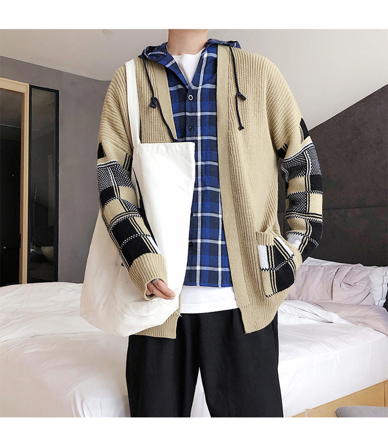 Korean Oversized Sweater Cardigan Men Plaid (11)