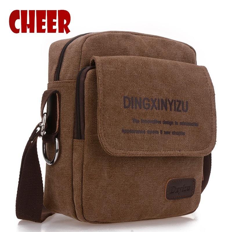 New Canvas Shoulder Bag Casual High Quality Men Pockets Mens Messenger Travel bag Bolas Masculina Small square Crossbody Bag