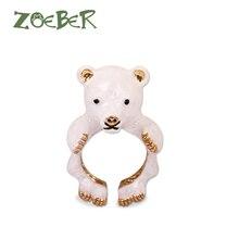 Zoeber 3D Enamel Glaze Open Adjustable Animal Bear Rings Women Wedding Party Dance Jewelry Accessories RJ2131