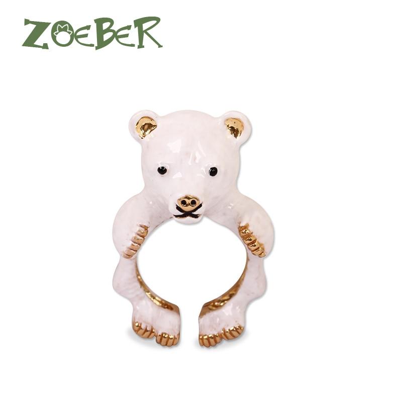 Zoeber 3D Enamel Glaze Open Adjustable Animal Bear font b Rings b font Women Wedding Party