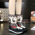 2017 nuevas mujeres de invierno botas de nieve impermeable corto Ciervos de David botas de piel caliente gruesa niñas espesan botas de color beige azul oscuro 35-41