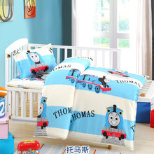 100% Cotton Baby Boy Girl Bedding Sets for Kids Students Chrildrens Cartoon Cot Bed Bedding Set Duvet Cover+Bed Sheet+Pillowcase(China)
