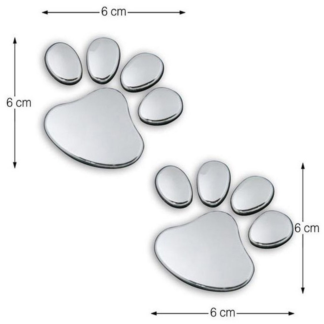 Dewtreetali Hot Sale Silver Gold 1 Pair Cool Design Paw Car Sticker 6D Animal Dog Cat Bear Footprint Decal Car Stickers