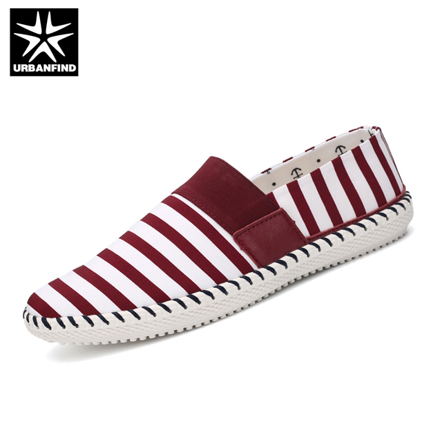 URBANFIND Men Canvas Shoes Striped Pattern Man Flat Shoes EU 39-44 Fast Delivery Male Daily Casual Flats Top Retail Shoes Store