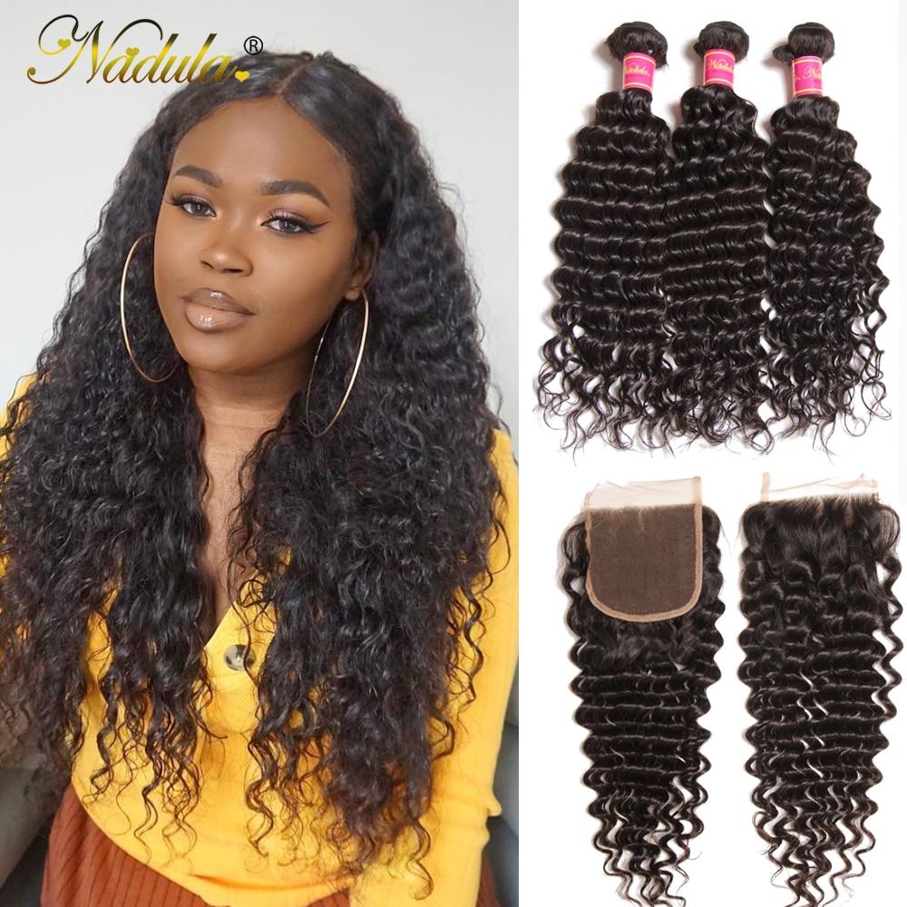 Nadula Hair With Closure Deep Wave Brazilian Hair With Lace Closure 100% Human Hair Bundles With Closure Natural Color Remy Hair
