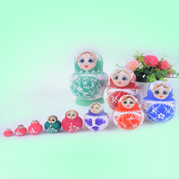 TW06 Set de 10 unid Muñecas Rusas Auténtica Hecha A Mano Rusa Matryoshka colores Mezclados decoraciones de navidad Juguetes de Los Niños
