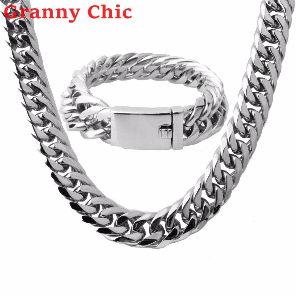 Vente en gros \ vente au détail! Ensemble de bijoux polis Bracelet pour hommes en acier inoxydable 316L chaîne en argent ou en or