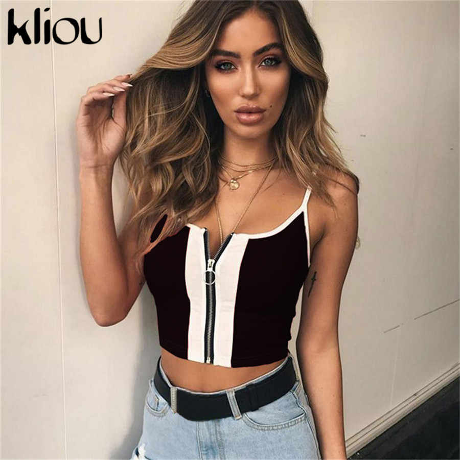 Kliou 2018 New Fashion Red White Patchwork Zipper Fly Women Crop Tops Cotton Casual Knitted Tank tops Camis Slim Camisole