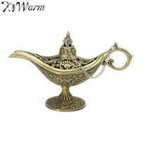 KiWarm Traditional Hollow Out Fairy Tale Aladdin Magic Lamp Tea Pot Genie Lamp Vintage Retro Toy For Home Decor Ornaments