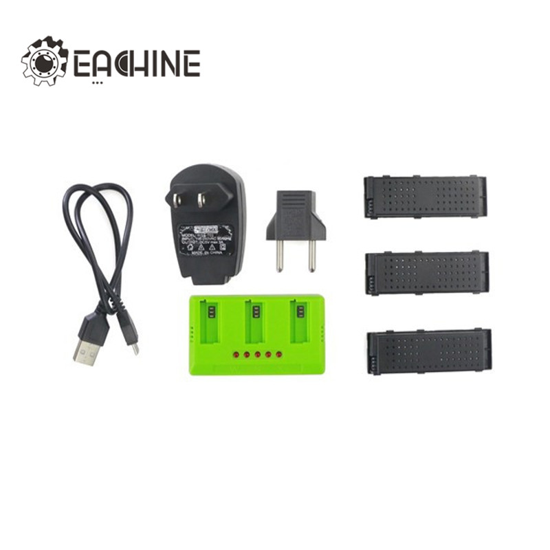 Eachine E56 JJRC H47 3Pcs 3.7V 500mah 25C Battery And Charger Set RC Quadcopter Camera Drone Spare Parts Accessories 3pcs battery and european regulation charger with 1 cable 3 line for mjx b3 helicopter 7 4v 1800mah 25c aircraft parts