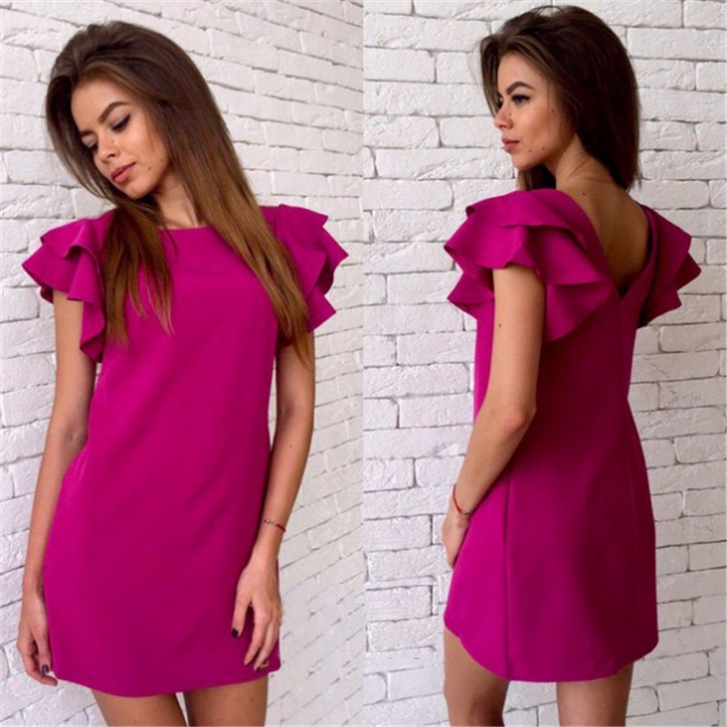 2017 Womens Summer Casual Style Butterfly Sleeve Dress Red Blue Yellow Sexy Backless Beach Mini Party