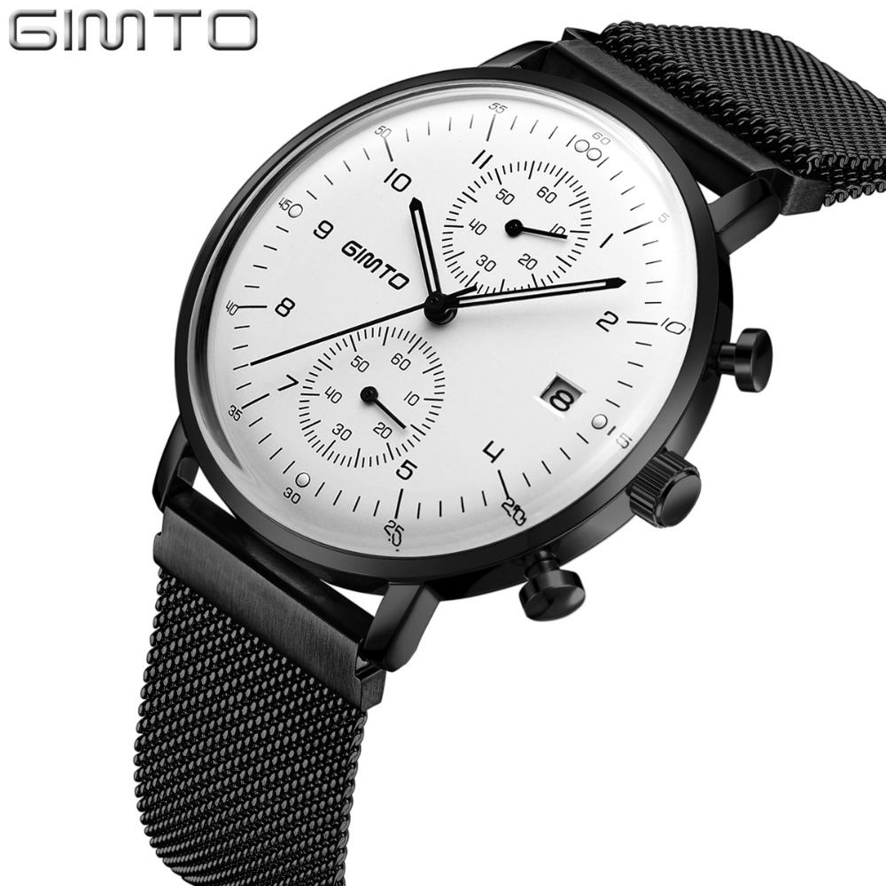 GIMTO Brand Luxury Men Watch Thin Steel Sport Quartz Clock Carendar Luminous Waterproof Business Male Watches Military Relogio