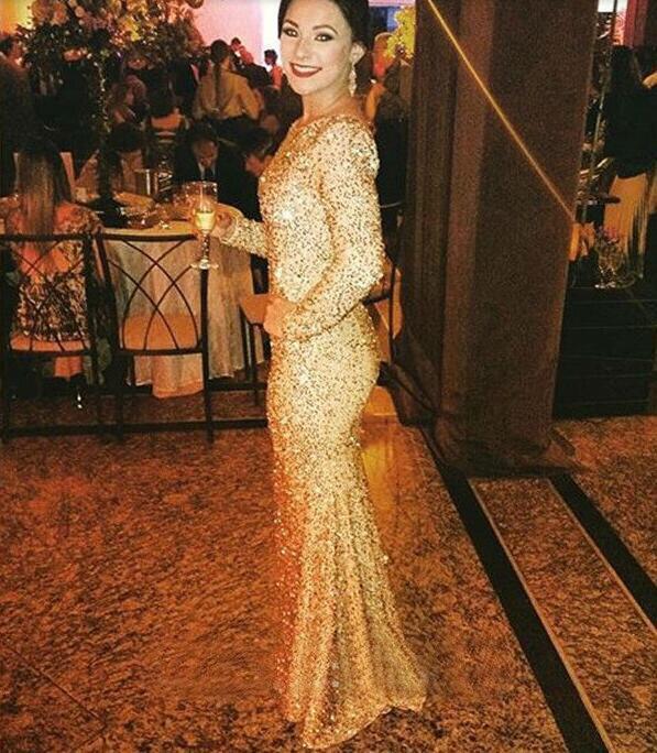 24c13c1017d Trumpet Long Sleeves Sign Evening Dresses Classic Evening Gowns Vestidos De  Fiesta High Quality Dress Formal Occasion Dress
