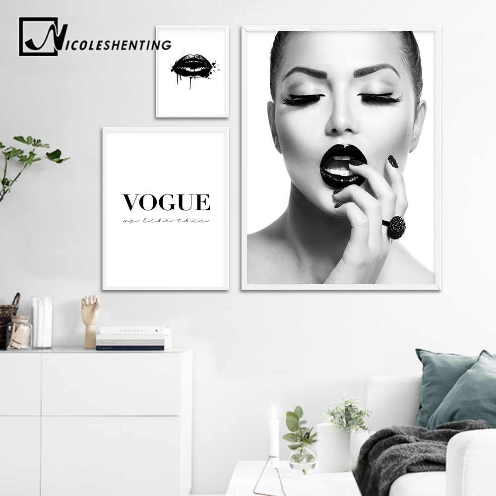Black Lips Fashion Girl Canvas Art Posters and Prints Scandinavian Painting Wall Picture for Living Room Modern Home Decoration