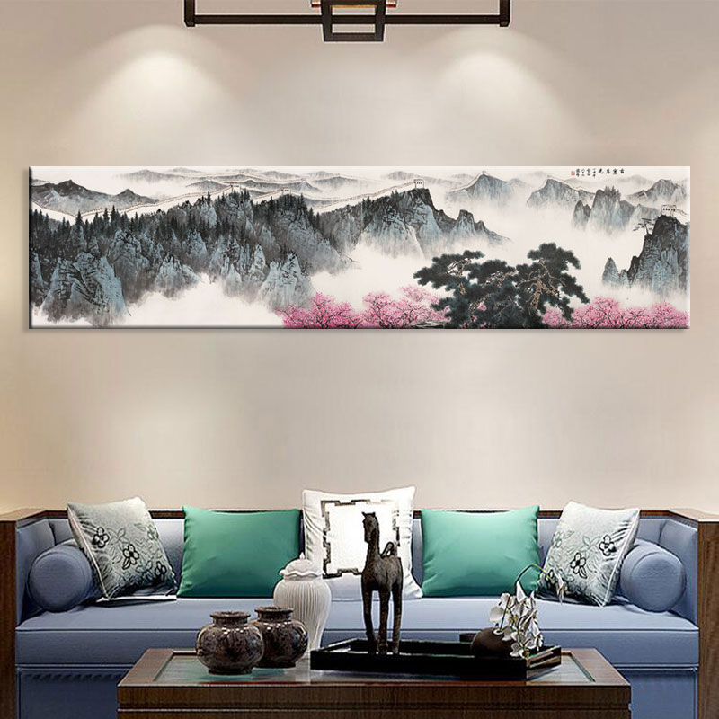 Wall Art Canvas Prints.Us 11 87 34 Off Large Wall Art Canvas Prints Chinese Mountain And River Painting Picture Hall Living Room Decor Canvas Art Wall Poster Print 60 In
