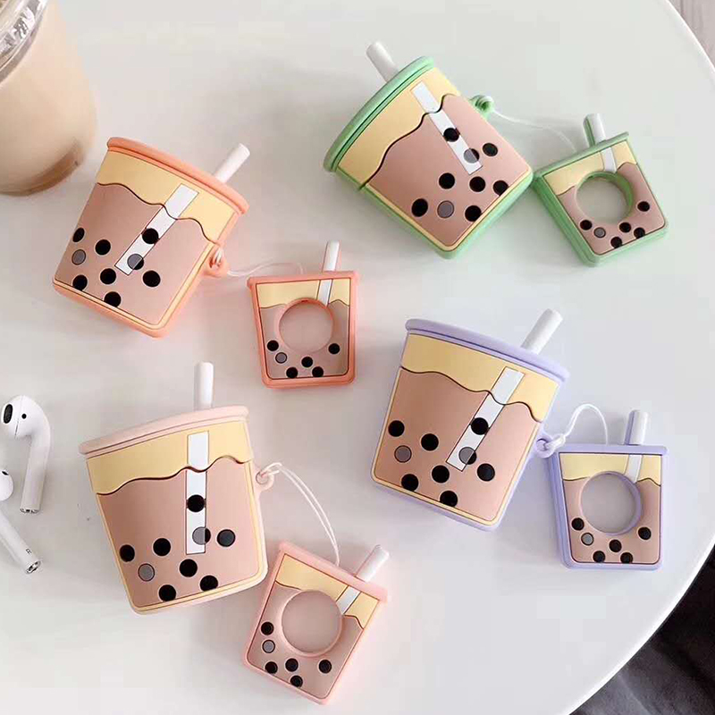 For AirPods 2 Case Cartoon Cute Soft Milk Bubble Tea Drink Bottle Earphone Protect Cover For Airpods 2 1 with Finger Ring Strap cute airpod case cover
