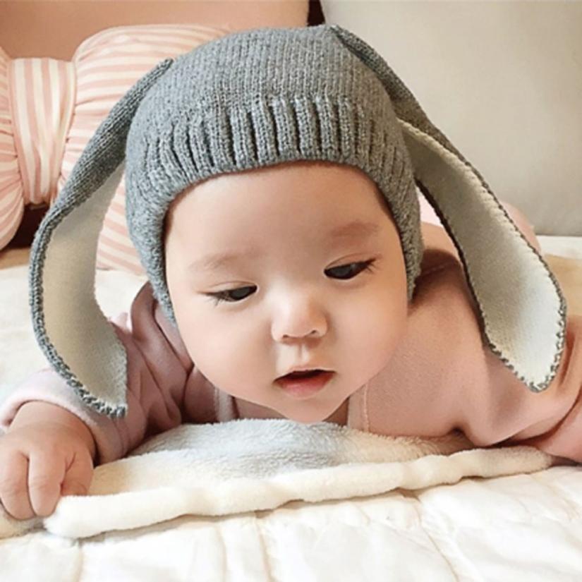 Новый стиль, милые шапки для маленьких мальчиков и девочек, вязаные шапки с кроличьими ушами, зимняя теплая шапка, шапка с Минни, головные уборы