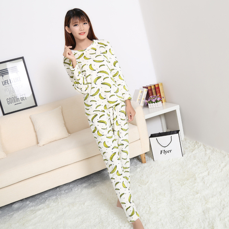 fc31efb9dd49a Women fleece print pajamas set Female sleeping clothes pregnant women  flannel fabric soft sleepwear mother's clothes-in Sleep & Lounge from Mother  & Kids on ...