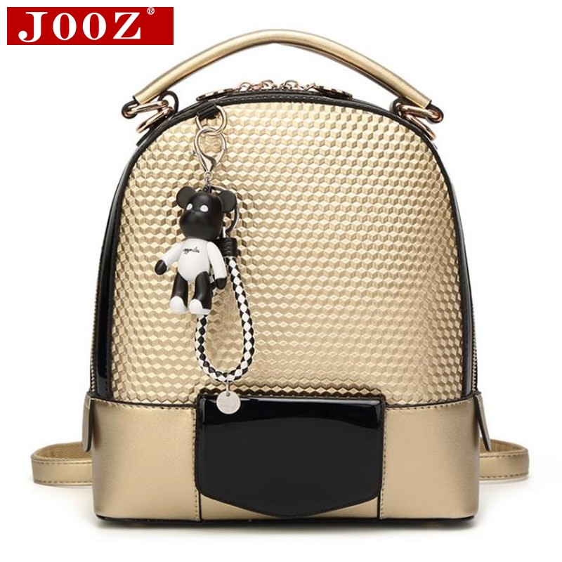 JOOZ Fashion Bear PU Patent Leather Women backpacks High quality Plaid Pattern Ladies Bagpack School bags For Girls travel bag doodoo fashion streaks women casual bear backpacks pu leather school bag for girl travel bags mochilas feminina d532