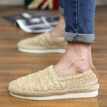 summer font b men s b font loafers font b flat b font hemp canvas shoes