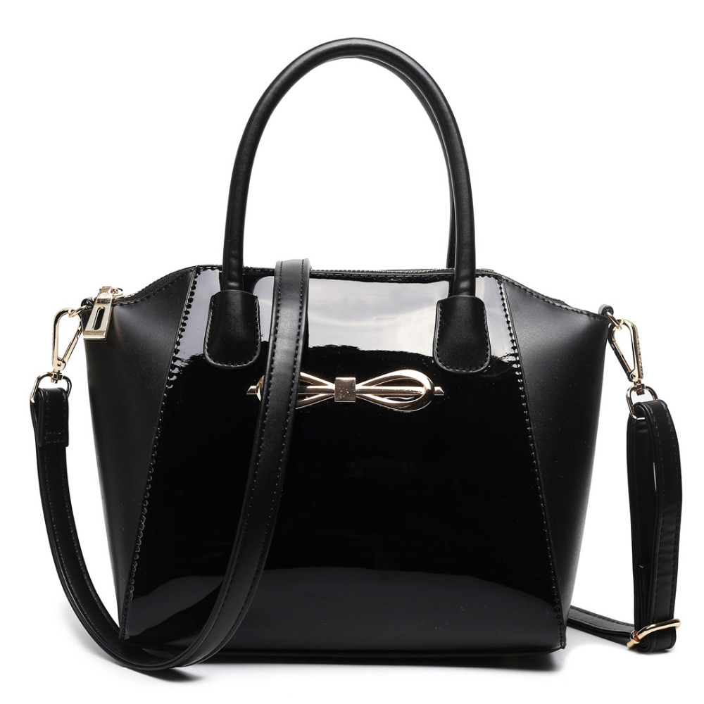 MISS LULU Women Designer Celebrity Plain Black Handbag Patent Leather Messenger Cross Body Shoulder Satchel Bag Small E1639 BK
